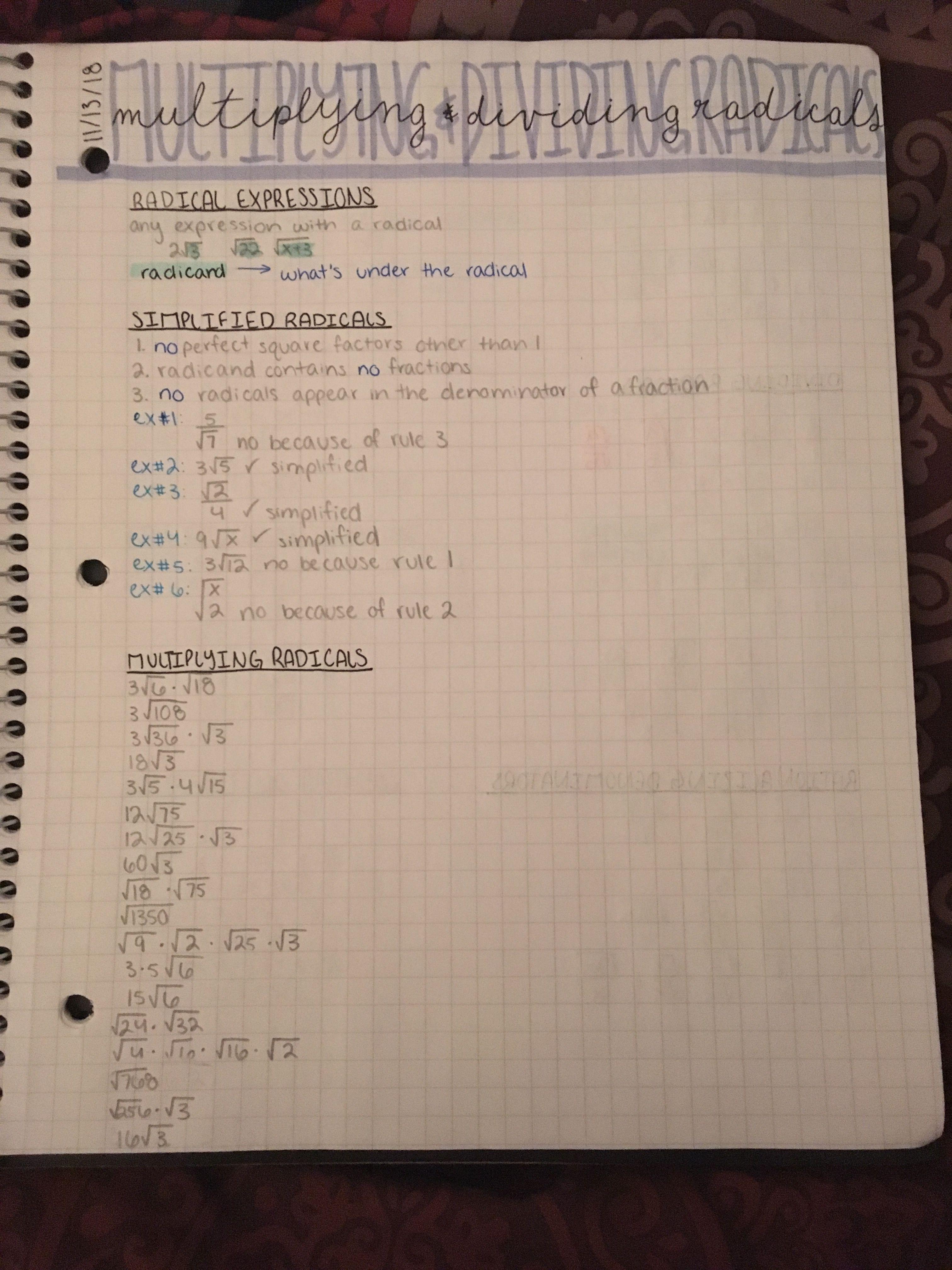 Algebra Multiplying And Dividing Radicals Notes Basic Algebra Radical Expressions Math Notes Radical expressions addition and