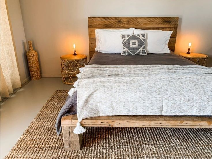 Contemporary Style Platform Bed Frame and Headboard from ... on Modern Boho Bed Frame  id=86650