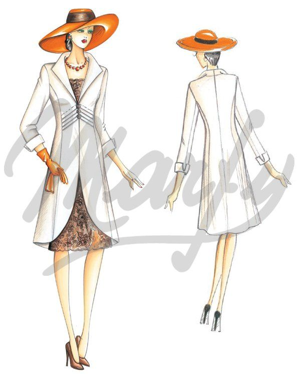 Marfy 3015   Redingote-line coat with raised pointed collar ...