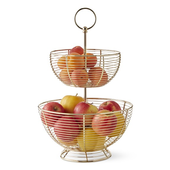 Wire Fruit Basket Kitchen Counter Organizers Williams Sonoma In 2020 Wire Fruit Basket Tiered Fruit Basket Fruit Bowl Display