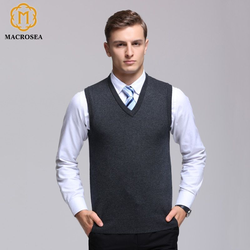 4a6828675fd MACROSEA Male Winter Wool Pullover Men s Brand V-Neck Sleeveless Sweaters Pure  Color Comfortable Formal Business Knitted Vest Review