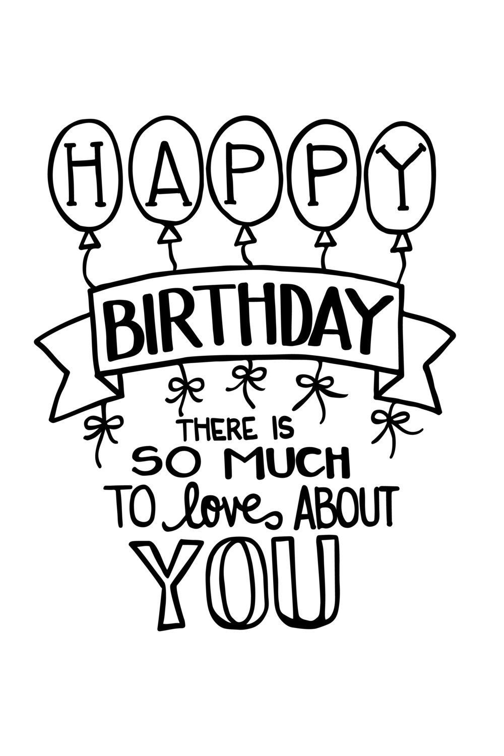 Instant Digital Download Happy Birthday Poster Happy Birthday Doodles Birthday Poster Diy Happy Birthday Drawings