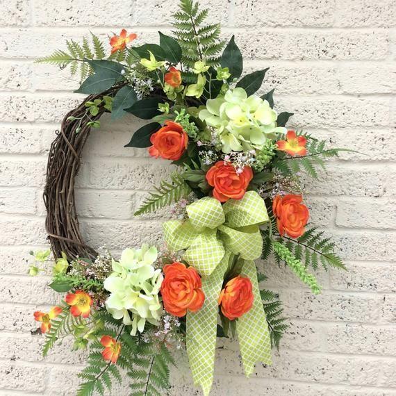 Photo of Spring Summer Door Wreath Orange and Green Partial Grapevine Door Wreath Hydrangeas Wreath Green and Orange Floral Spring Wreath Black Door