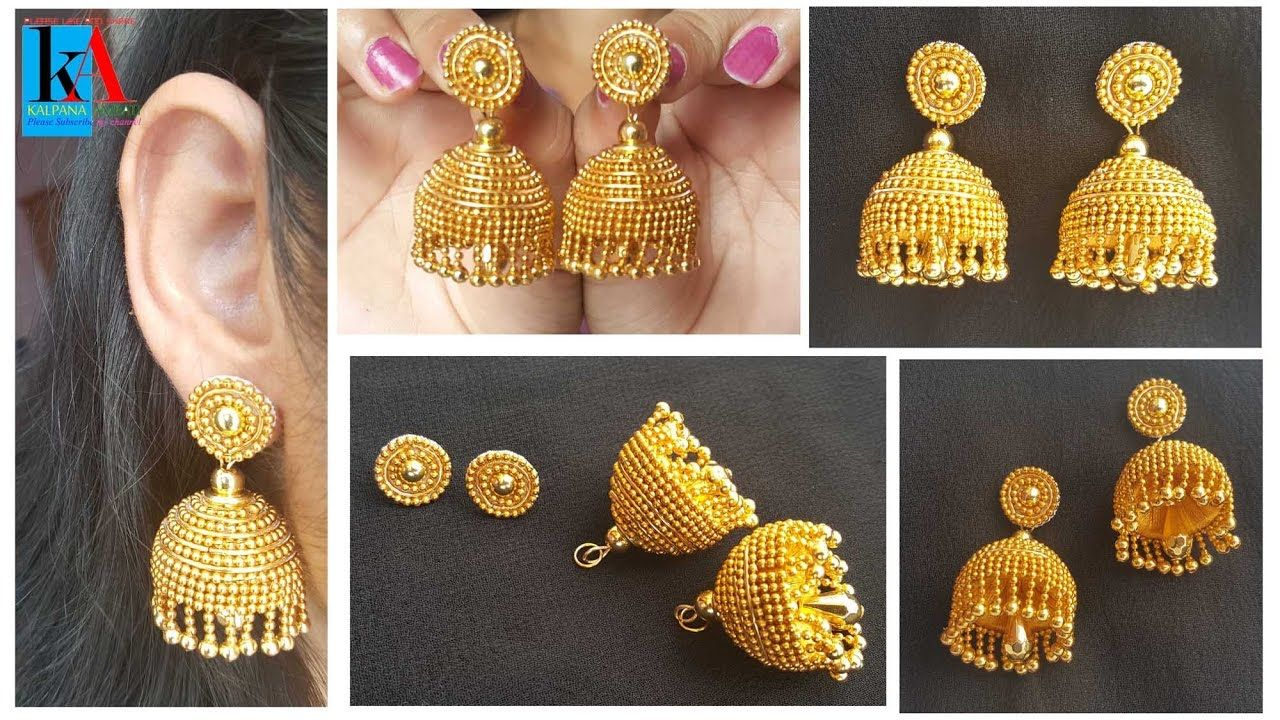 How to make Designer Silk Thread Jhumkas in 5 easy steps   Gold look Sil...