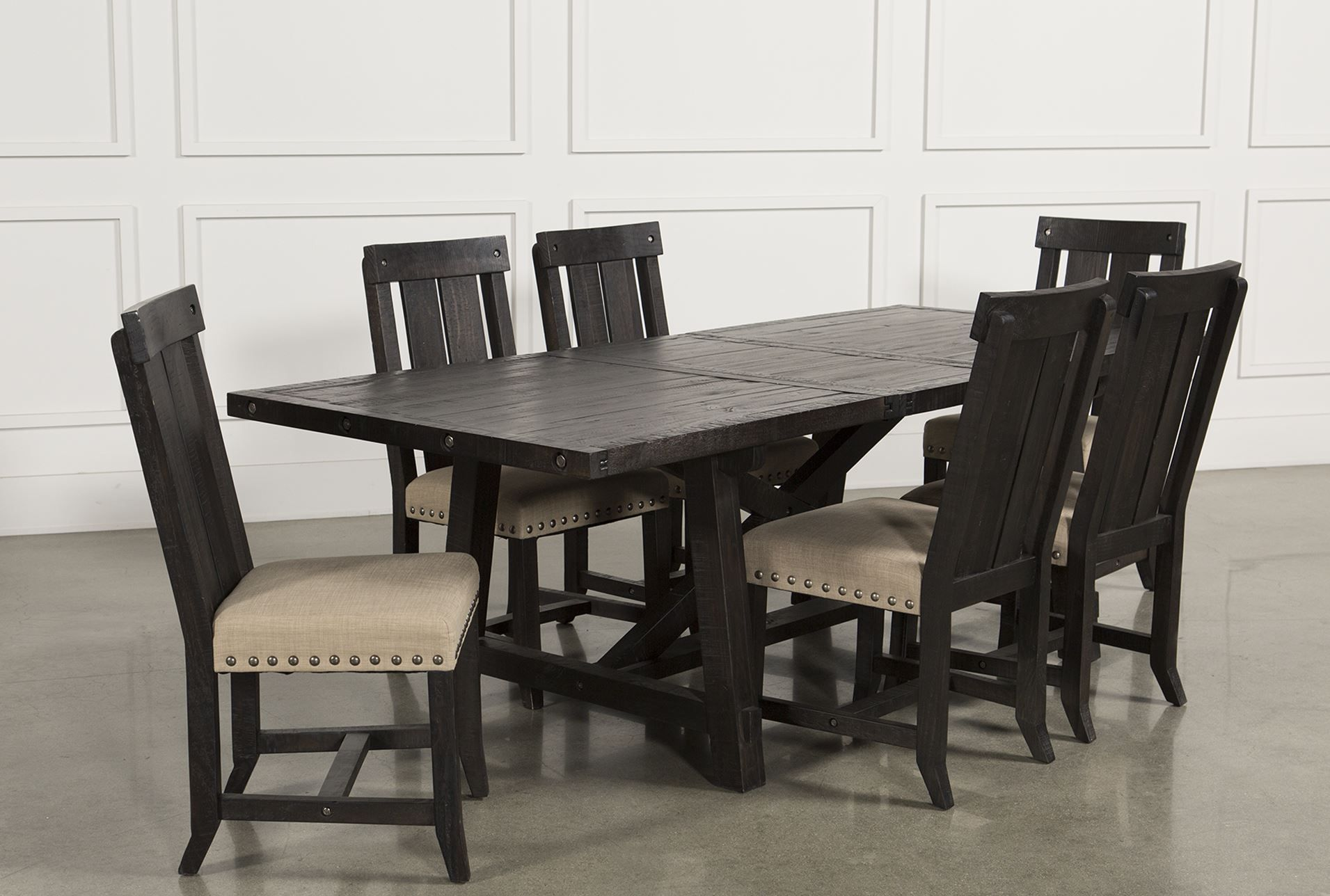 jaxon 7 piece rectangle dining set wwood chairs