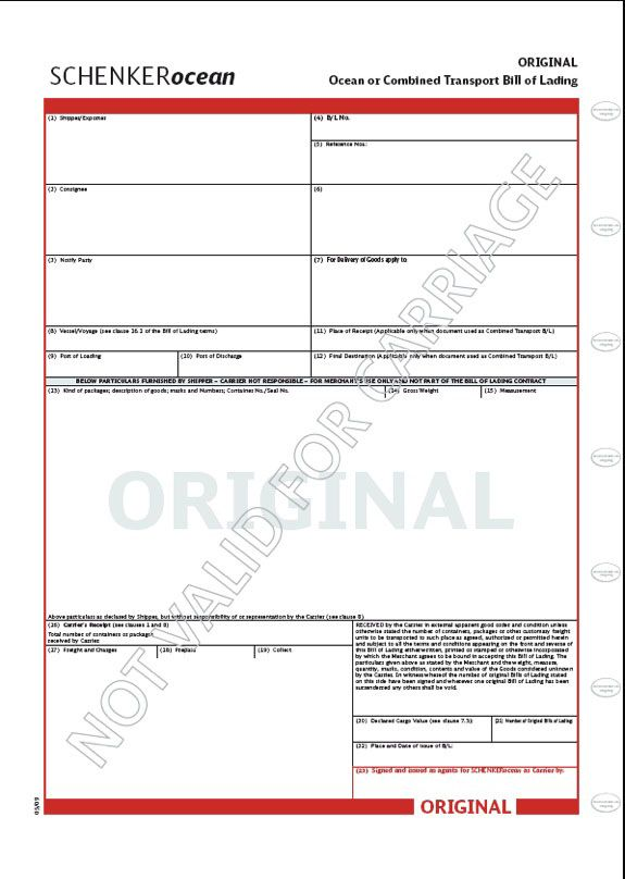 Printable Sample Bill Of Lading Pdf Form  Real Estate Forms