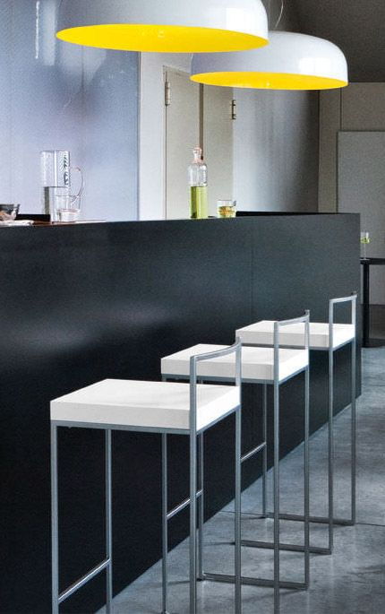 Cubo Bar Stool From LaPalma: A Square, Rigid Stool With Light Steel Frame.