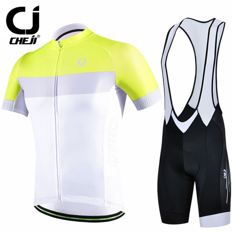 c89c2642c CHEJI Yellow White Cycling Jersey Set Bike clothing Ropa Ciclismo MTB bicycle  jersey Padded Bib Shorts