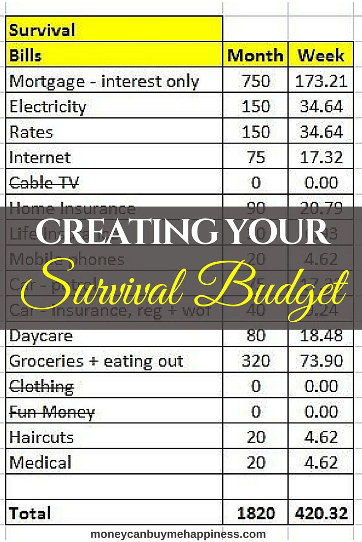 why you need a survival budget and how to create one pinterest