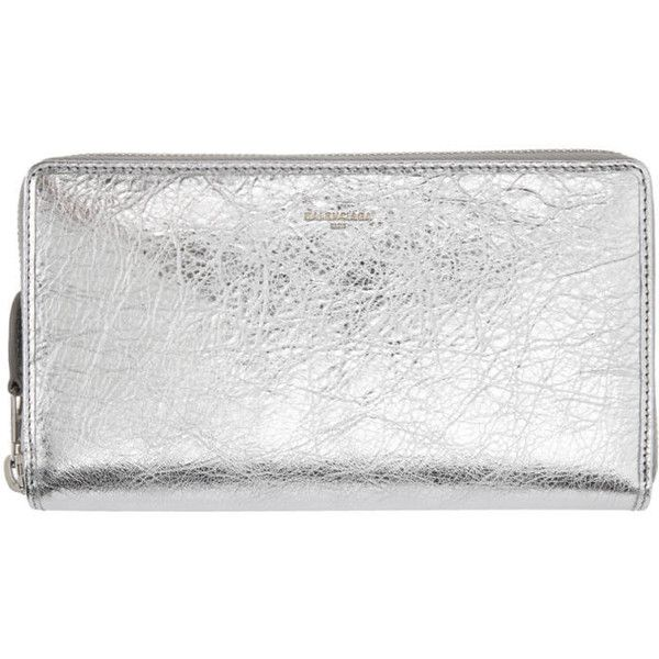 18560fbc525 Balenciaga Silver Metallic Continental Wallet ( 620) ❤ liked on Polyvore  featuring bags