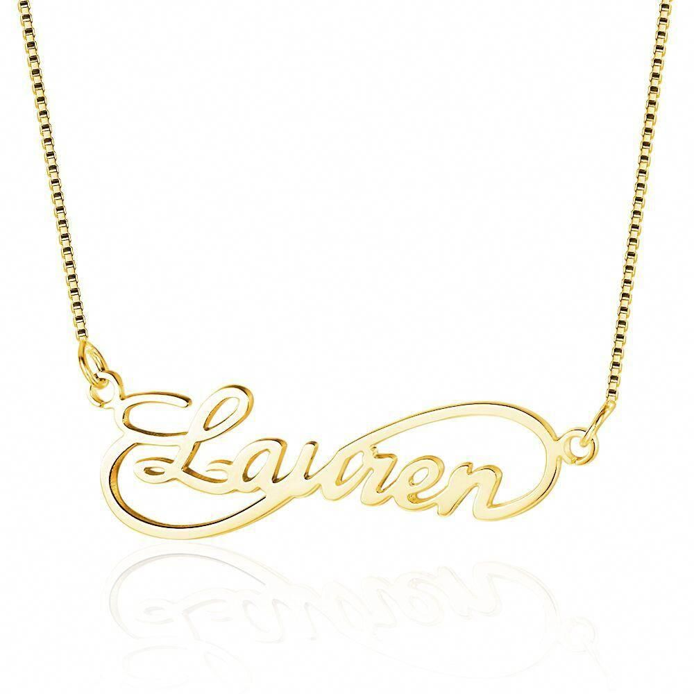 490bd2576407e Personalized 1 Name Cutout 14k Gold Plated Necklace ...