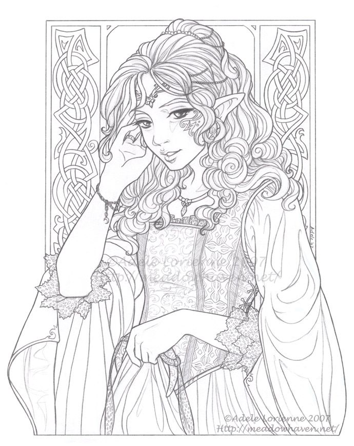 Icolor Princesses Ii Royalty Diana Lineart 690x870 Fairy