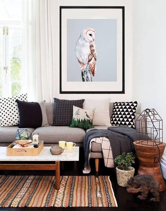 Snow Owl Art Print White Owl Art Rustic Home Decor Light Etsy Home Living Room Interior Living Room Decor