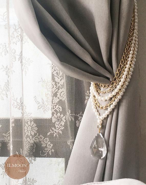 Luxury Farmhouse Decor Curtain Tie Backs Beige Wall Decor Curtain
