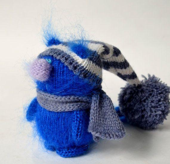 Indigo Blue Cat in Hat - Hand-Knitted Toy Amigurumi Miniature Art ...