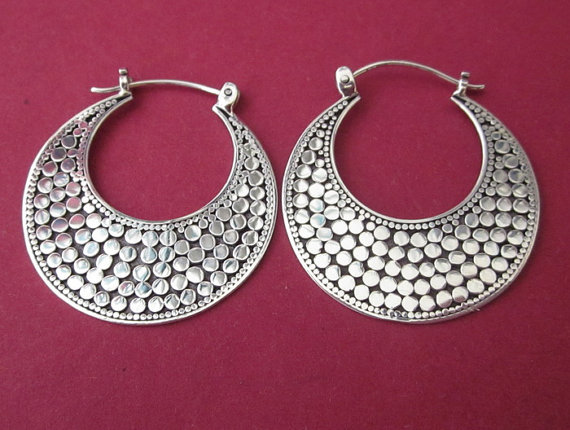 Balinese Silver Hoop Earrings 1 15 Inch 925 By Telur 33 99
