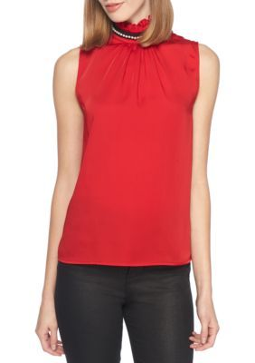 a5e3af2f87edd Nanette Nanette Lepore™ Women s Sleeveless Embroidery High Ruffle Neck Top  - Red - Xs