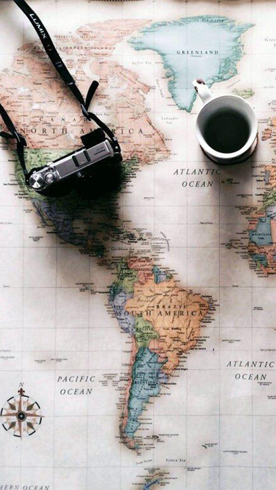 Iphone wallpaper tumblr travel - World Map Travel Plans Camera Coffee Iphone 6 Wallpaper