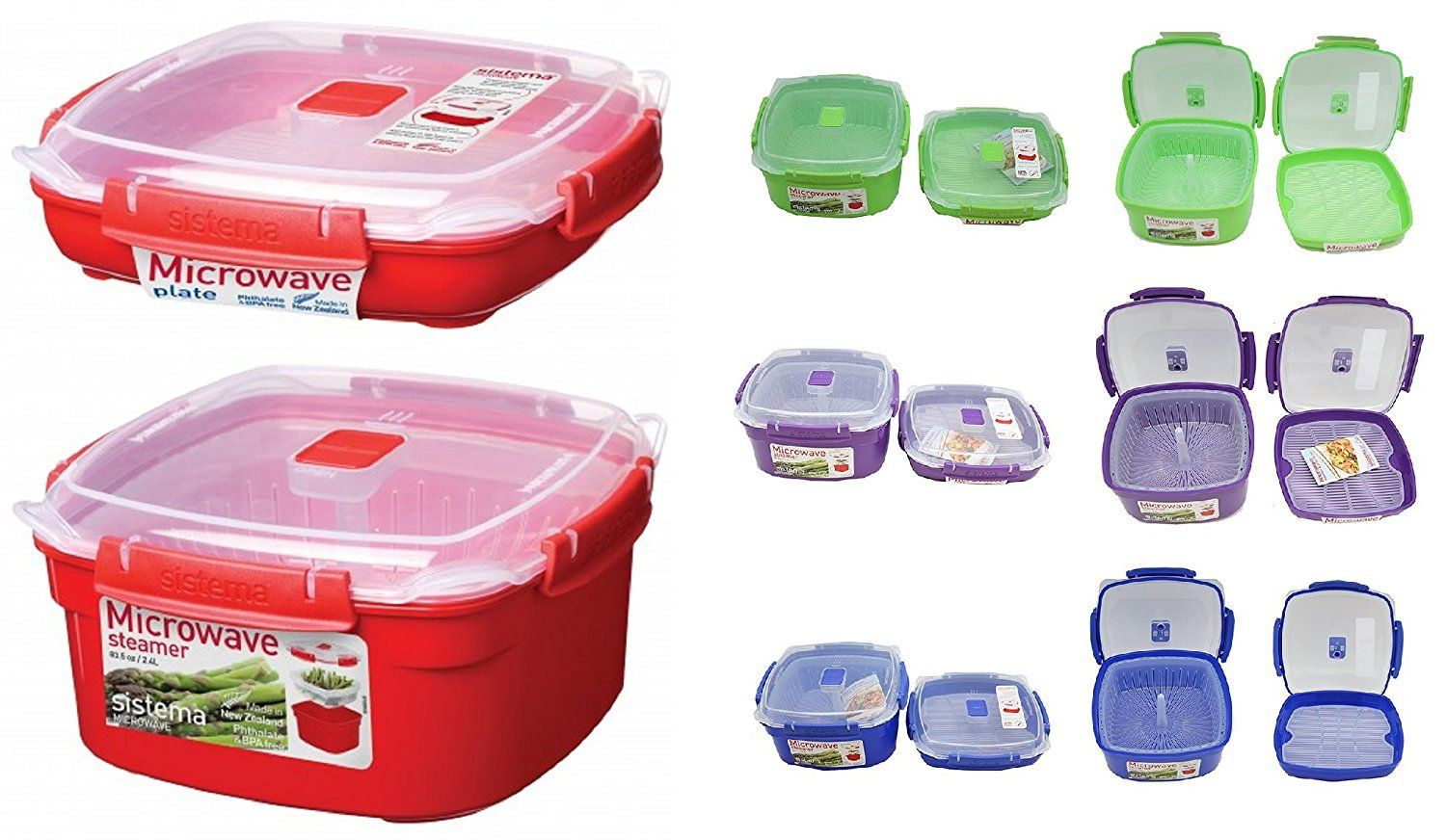 Sistema 2 Piece Medium Microwave Steamer and Plate Set with a Starter Recipe Guide for 15 Amazing Steamer Meals - Assorted Colors *** Learn more by visiting the image link.