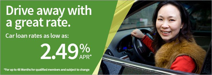 Drive Away With A Great Rate Car Loan Rates As Low As 2 49 Apr Loan Rates Car Loans Credit Union