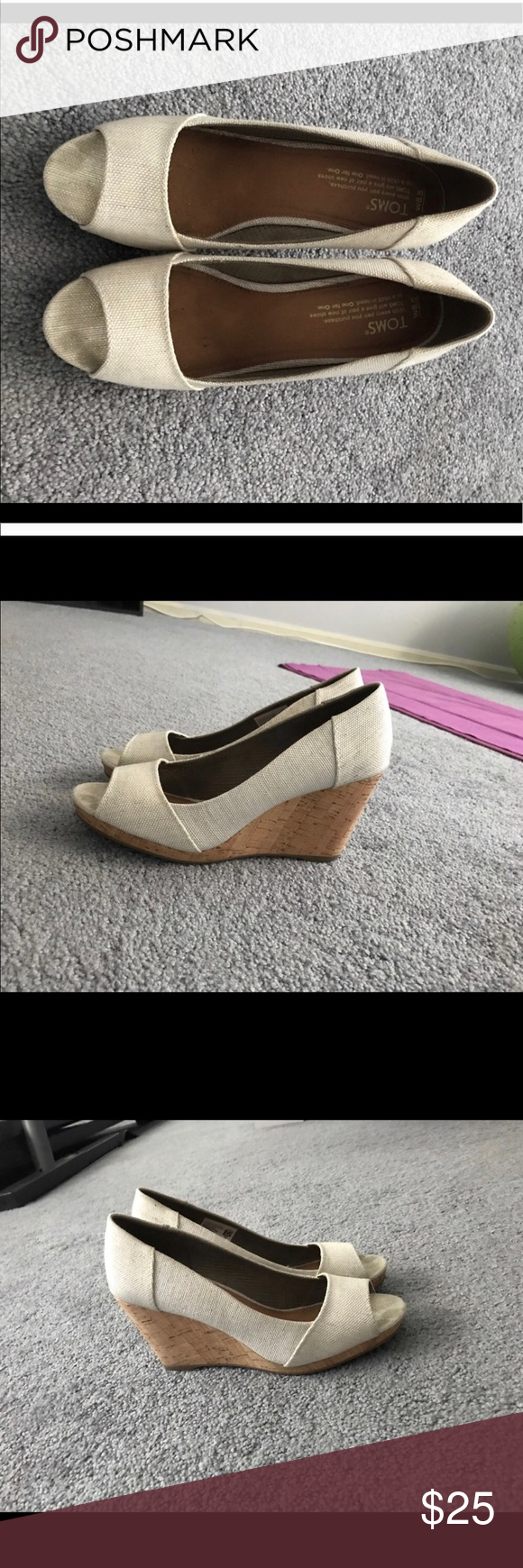 891bbfedeb0 Toms Natural Wedges Toms Natural yarn dye women s Stella peep-toe wedges.  Only worn once