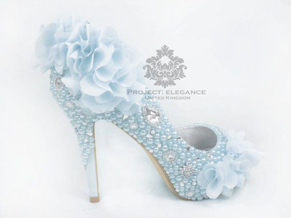 Elouise - Soft Pale Powder Blue Organza, Pearl and Crystal Flat 1, 2 ...