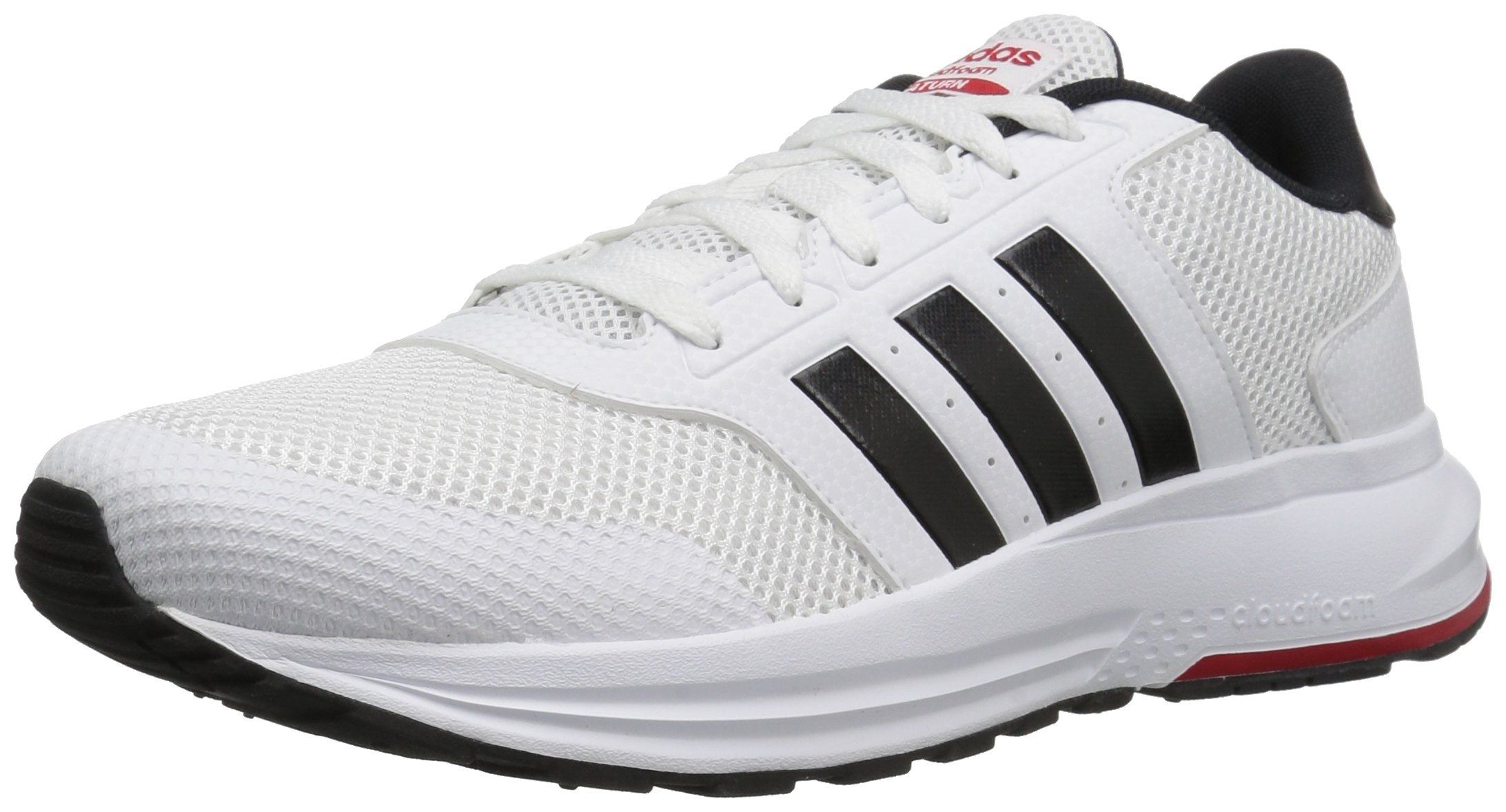 huge discount 8f5ba 531ee adidas NEO Mens Cloudfoam Saturn Running Shoe, WhiteBlackScarlet, 8.5 M