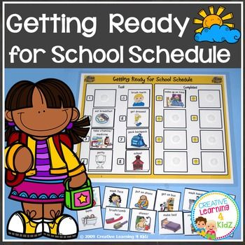 Getting Ready for School SchedulePrint on Cardstock - Laminate - add VelcoinsThis is a great visual schedule to help your child with getting ready for school. Once they complete the task they simply move it to the completed side of the board with the smiley faces.