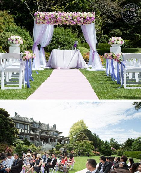 Outdoor wedding ceremony spot: Cecil Green Park House in Vancouver, BC. Photo by...   - Ceremony Decor -