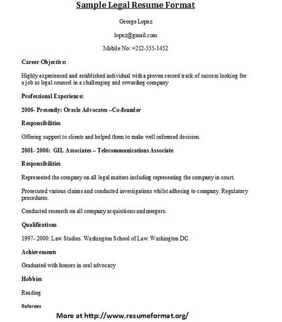 For more sample legal resume formats visit wwwresumeformatorg - legal resume examples