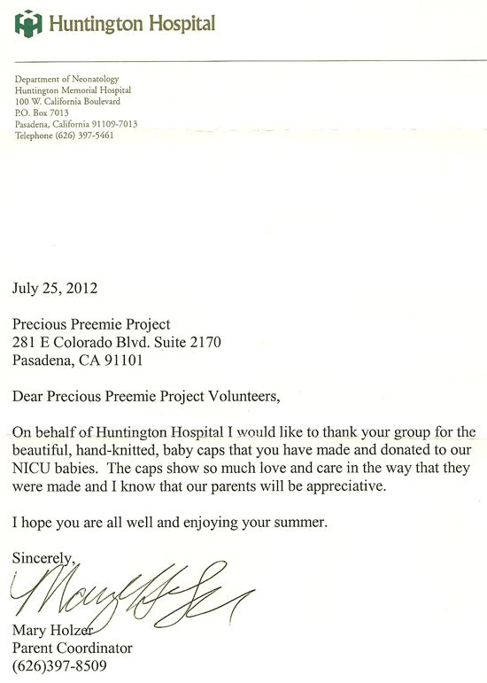 Huntington Hospital thank you letter to our Precious Preemie - sponsorship thank you letter