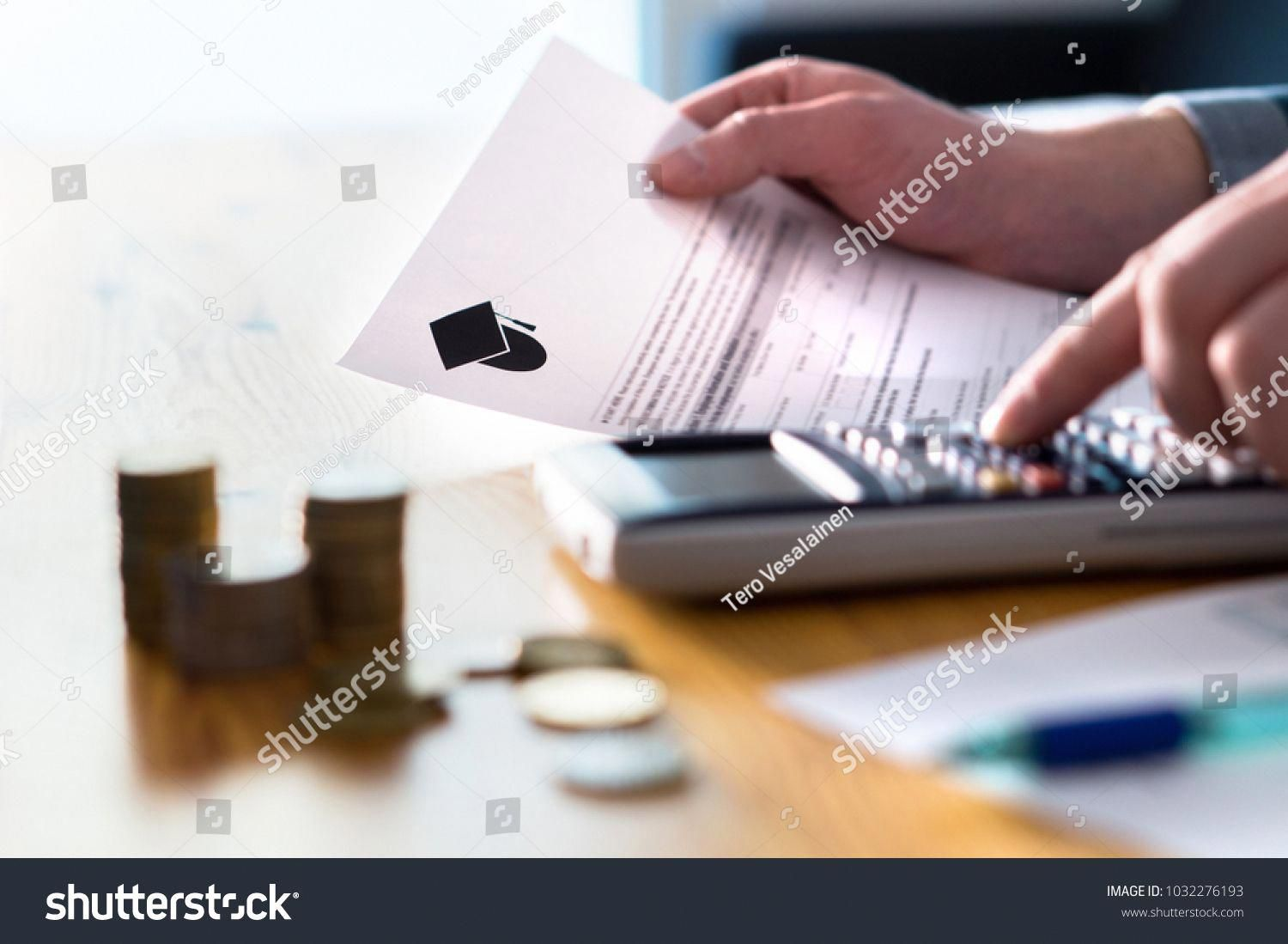 Man Counting College Savings Fund Tuition Fee Or Student Loan With Calculator Education Price And Expenses Co Tuition Student Saving For College Tuition Fees