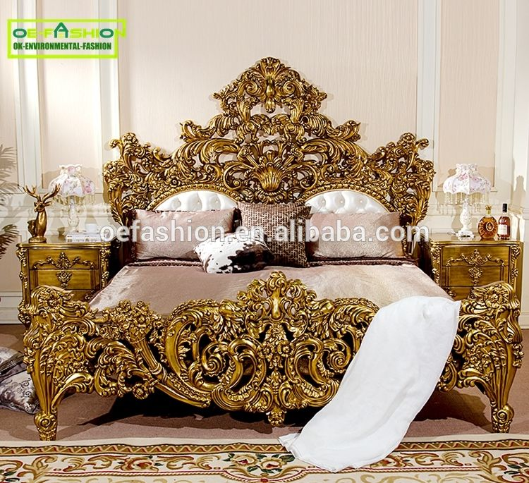 Italian baroque bedroom furniture birch wood double bed designs king ...