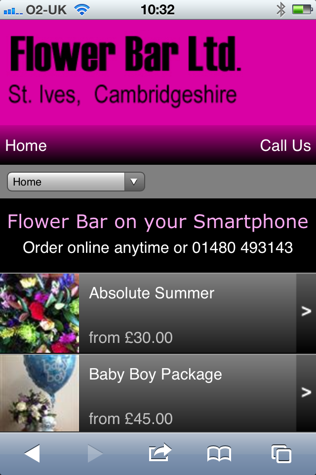 Flower Bar Florist in St Ives Cambridgeshire on your Smartphone