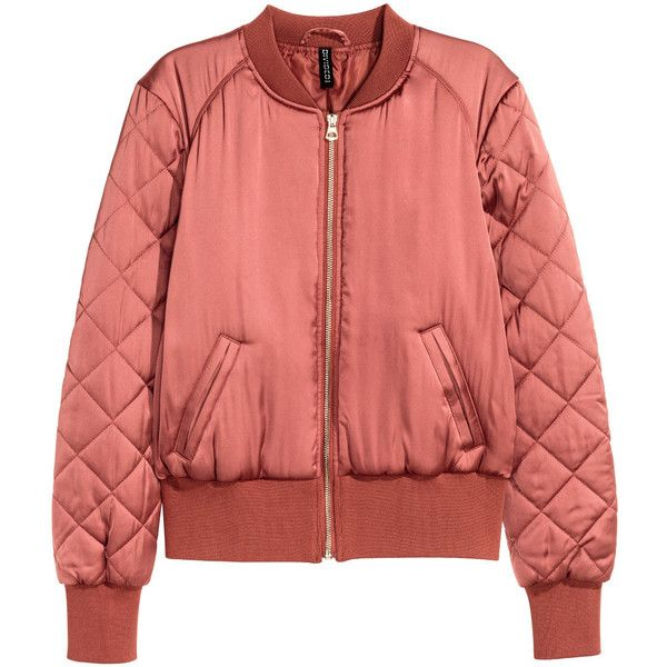 Bomber Jacket $34.99 (471.315 IDR) ❤ liked on Polyvore featuring outerwear, jackets, h&m jackets and red jacket