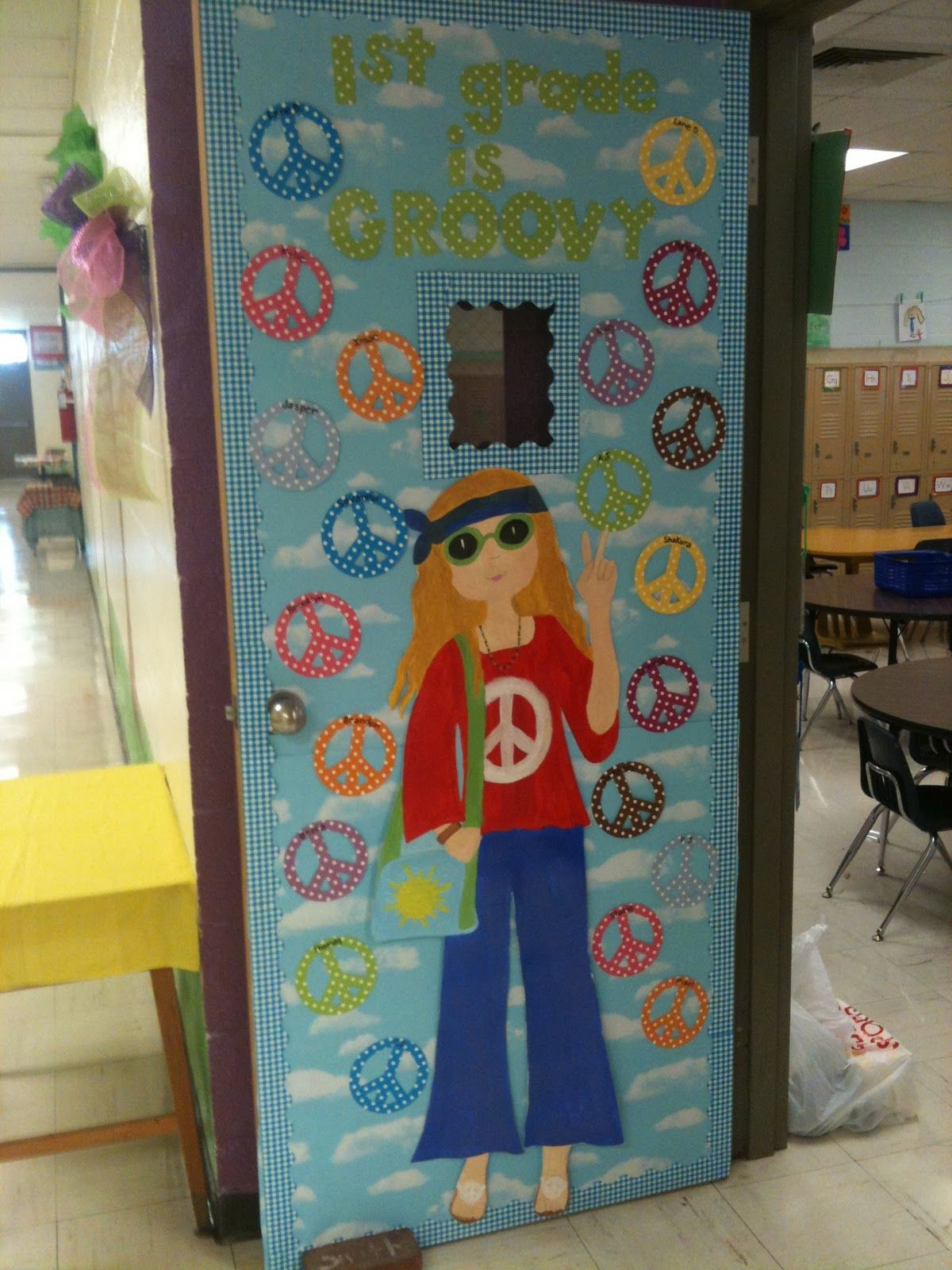 Hippie chick i painted to go with the peace signs on my door