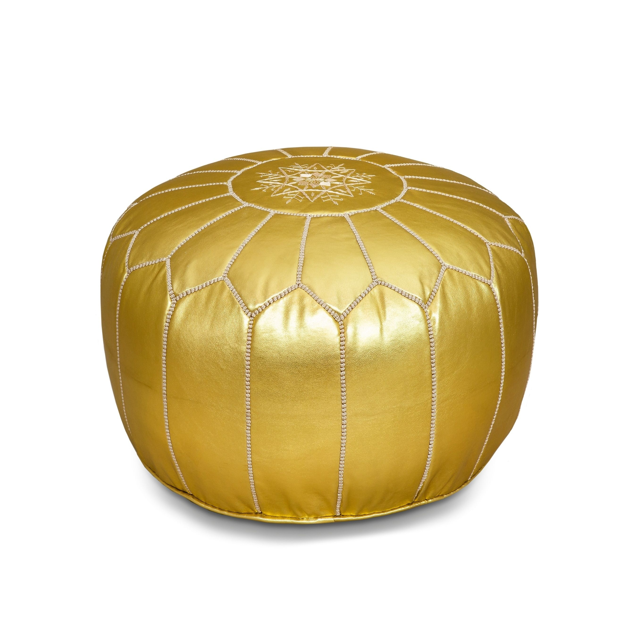 Terrific Moroccan Gold Silver Pouf Ottoman With Cotton Fill Gold Theyellowbook Wood Chair Design Ideas Theyellowbookinfo