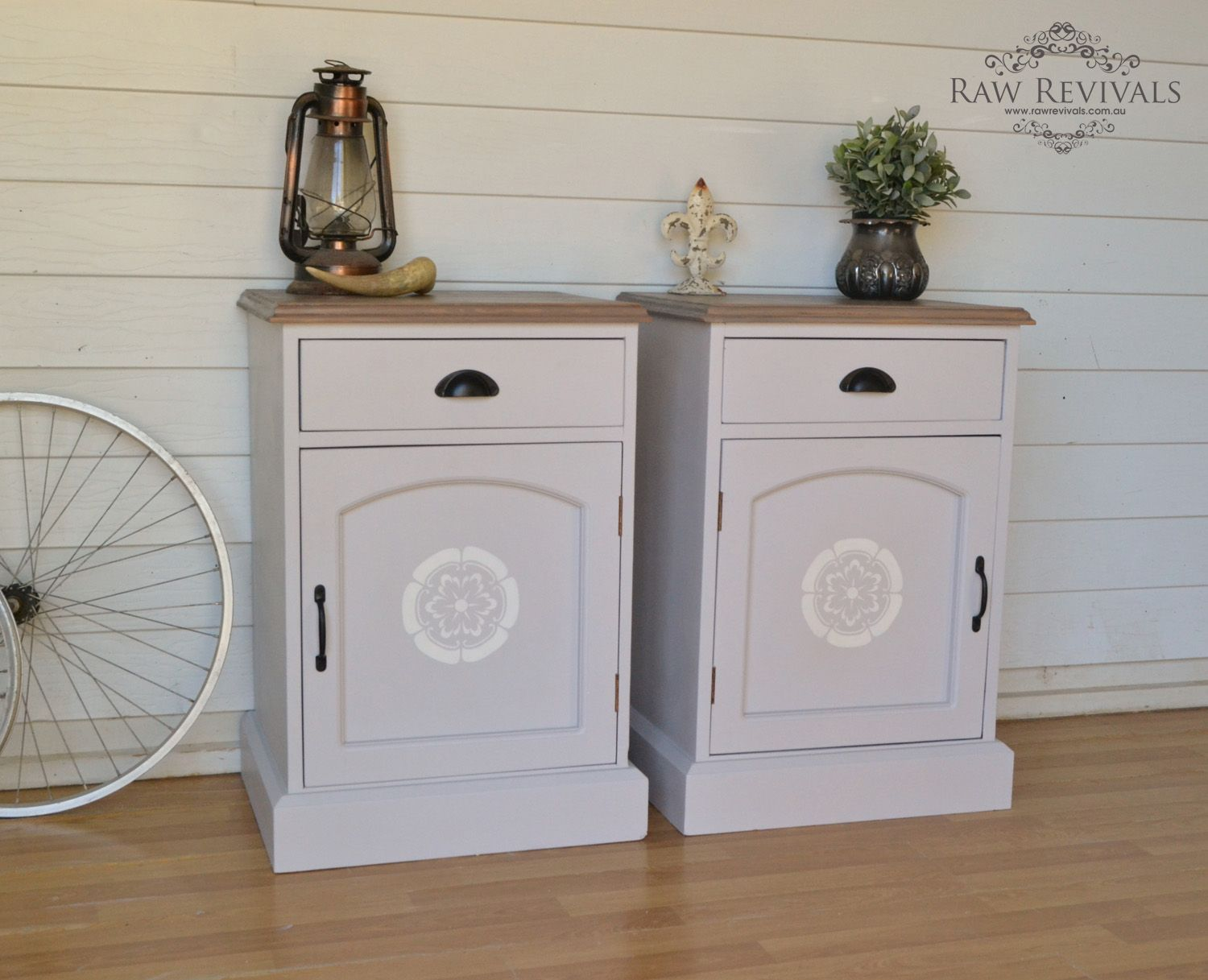 Vintage grey bedside tables with timber top grey bedside tables grey bedside tables with timber top and white stencil on doors rawrevivals watchthetrailerfo