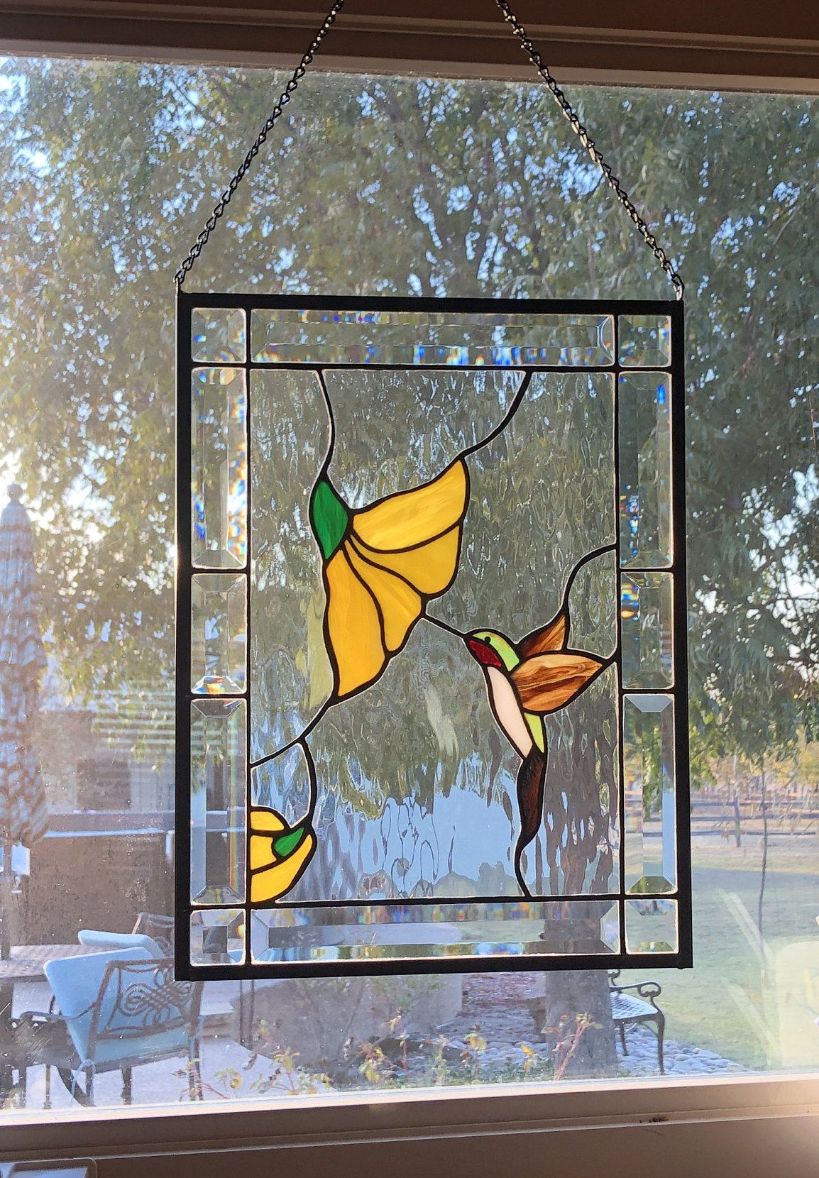Ruby Throated Hummingbird Stained Glass Panel -   beauty Art stained glass