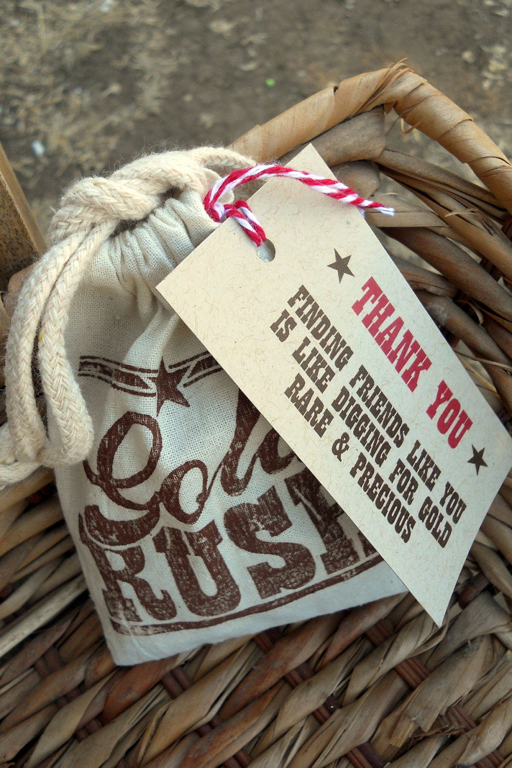 Gold Rush Party Favor Bags 6 Muslin Jute Fabric With