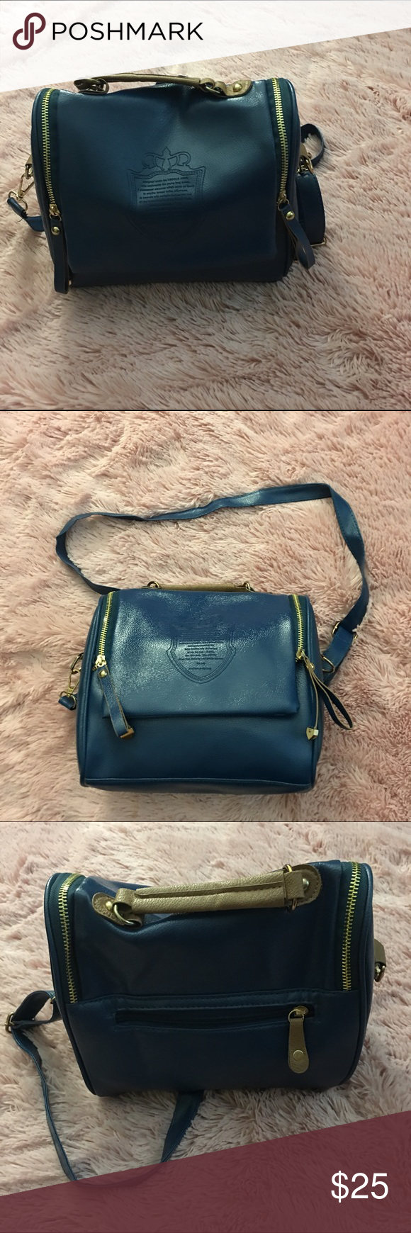 Cettu Bag Beautiful Navy Blue Colored Hand With Tan Accents 9 5 Inches Wide And 8 Long 75 Deep
