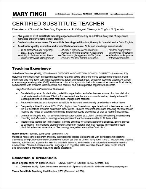 Substitute Teacher Resume Sample - teachers resume sample