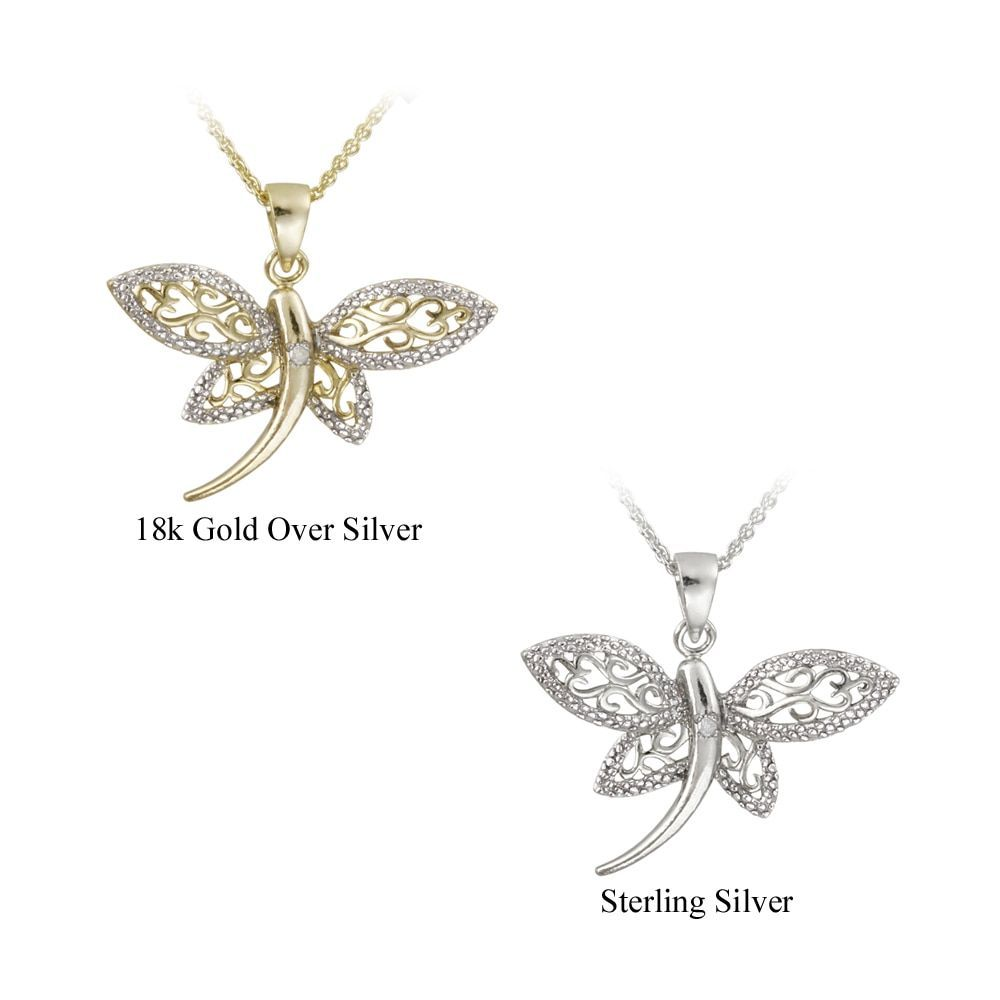 DB Designs Silver Diamond Accent Filigree Dragonfly Necklace Yellow