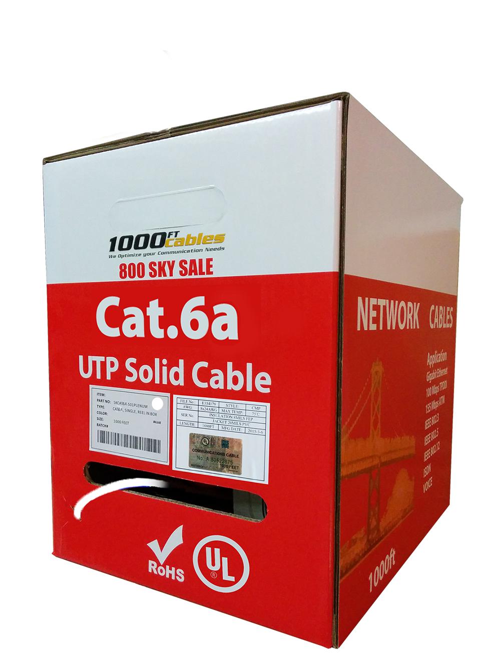 Cat6 UTP 1000ft Bulk Ethernet Network Cable 23AWG 550Mhz PureCopper Plenum White