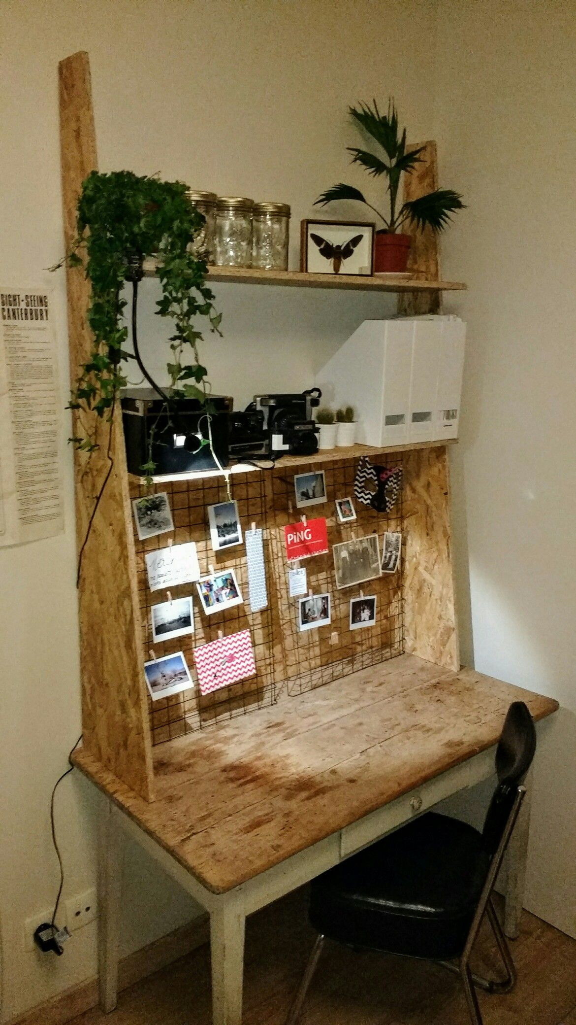 vintage table ans grids, OSB shelfs = cool writing desk. by ...