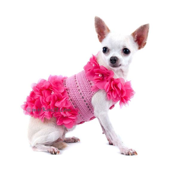 Dog Dress Pink Dog Clothes Flowers Pet Clothing Puppy Clothes