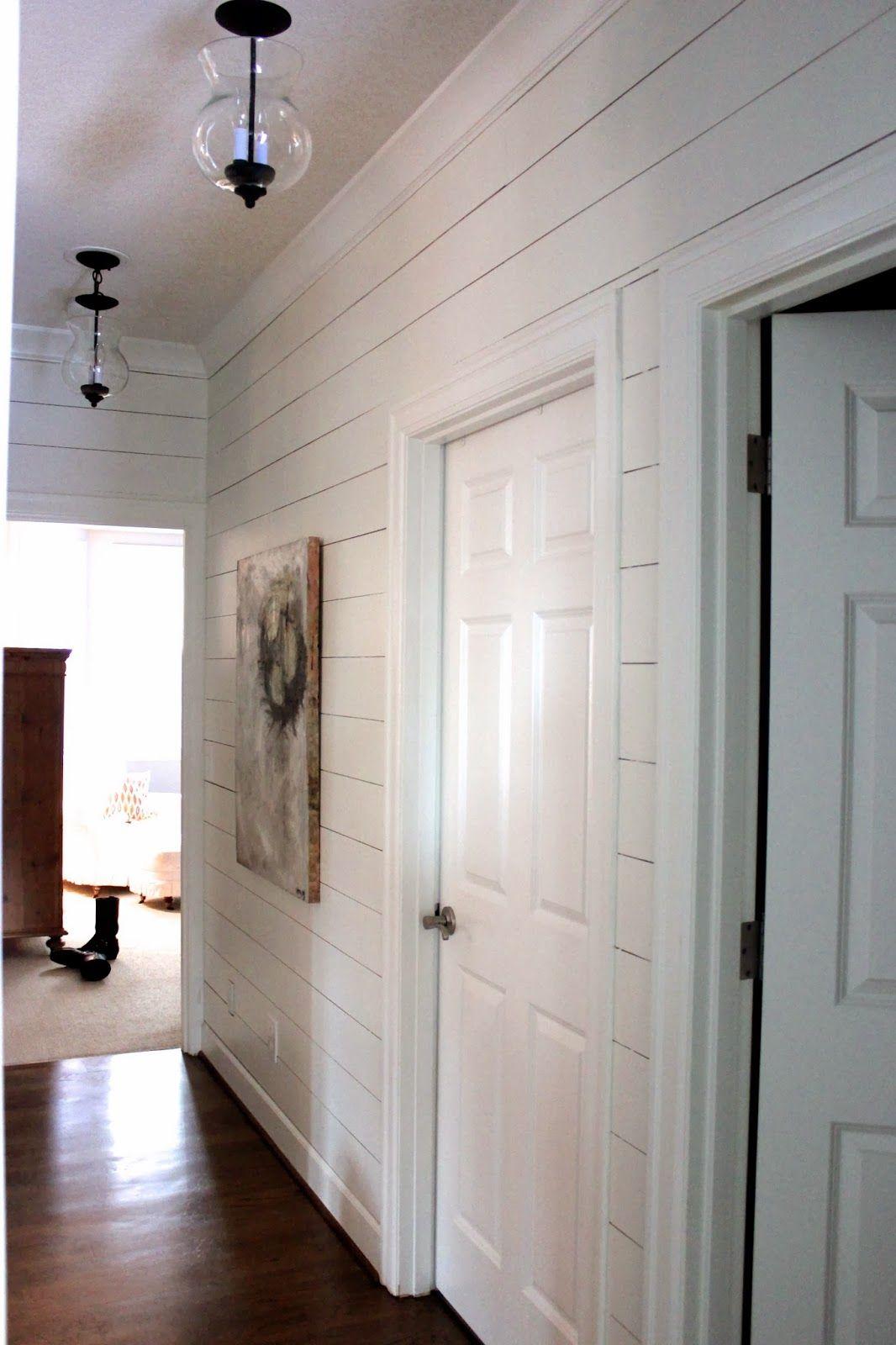 Forever Cottage Planked Wall Hallway Gets New Light Fixtures Cottage Lighting Pinterest
