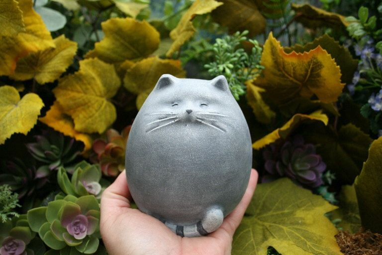 Fat Cat Statue   Abstract Concrete Kitty   Zen Cat   Outdoor Garden Decor  By PhenomeGNOME