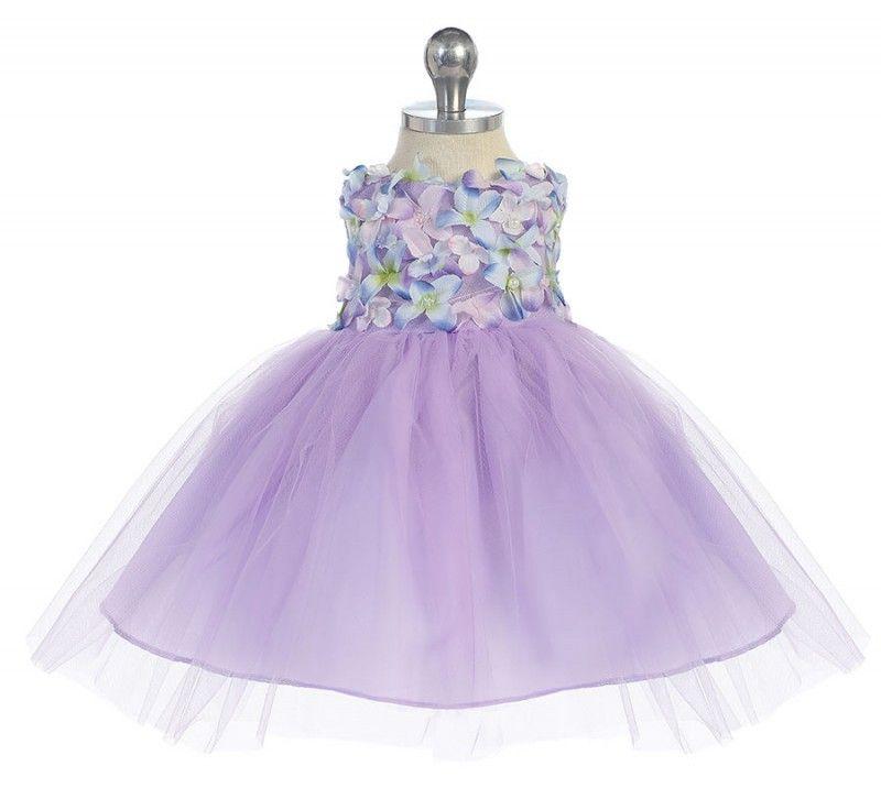 BIMARO Baby Mädchen Babykleid Rosalie flieder lila Tüll Blüten Perlen Pailletten Kleid Taufkleid Taufe Hochzeit festlich  Babies Babykleider
