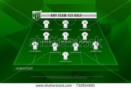 Football League Or World Tournament Broadcast Graphic Template Design For Soccer Starting Lineup Squad Vector